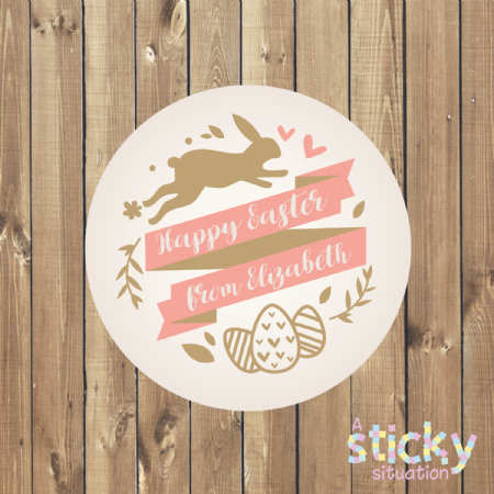 Personalised Easter Stickers - Fancy Scroll Design